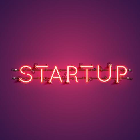 Neon realistisch woord 'STARTUP' voor reclame, vectorillustratie vector