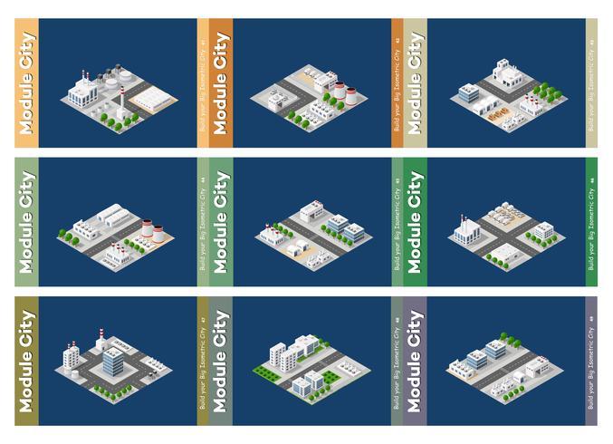 Set van stedelijke gebieden met modules vector