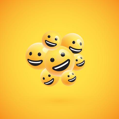 Groep van hoge gedetailleerde gele emoticons, vectorillustratie vector