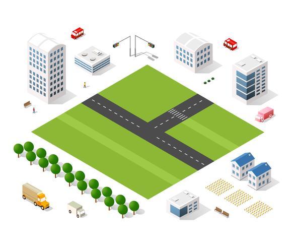 Set van moderne isometrische gebouwen vector