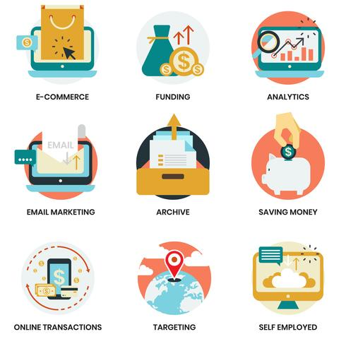Bedrijfspictogrammen die voor zaken, marketing worden geplaatst vector