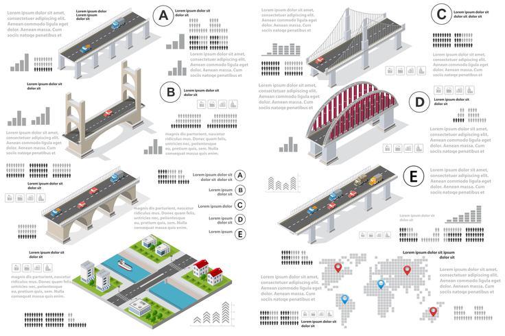 Infographics van bruggen in het veld vector