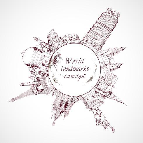 Wereld landmark concept vector