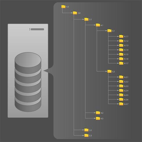 Computerbestandsstructuur, mappen, server, harde schijven, vectorillustratie vector