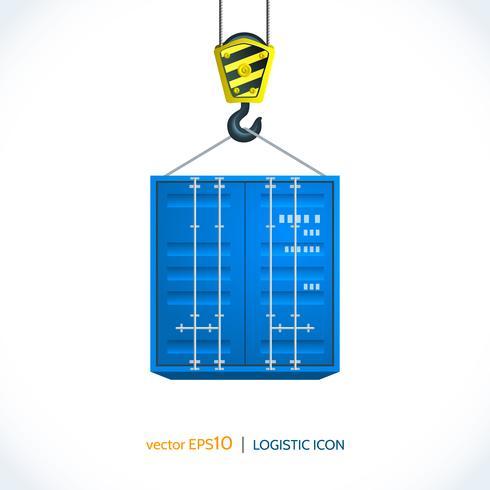 Logistieke pictogram kraan haak container vector