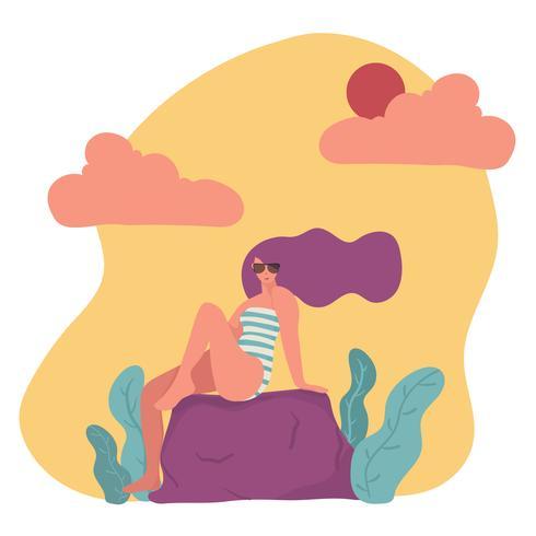 trendy platte vector teken vrouw in zwembroek en zonnebril