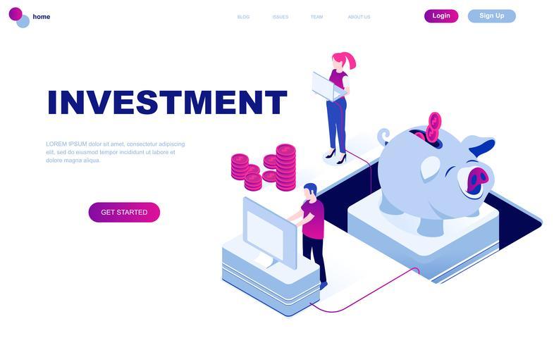 Modern plat ontwerp isometrisch concept van bedrijfsinvesteringen vector