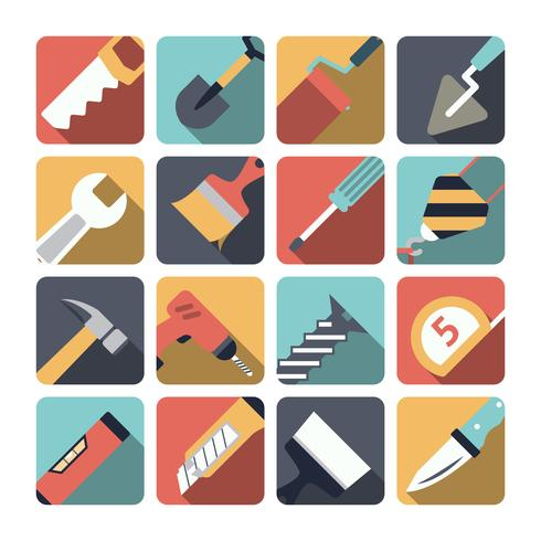 Home Reparatie Tools Pictogrammen vector