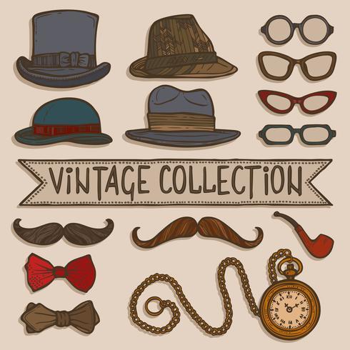 Vintage hoeden en glazen ingesteld vector