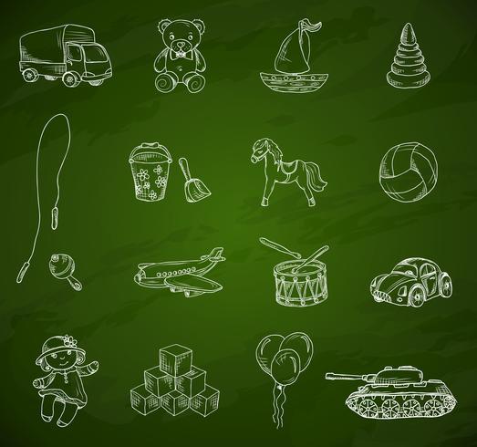 Speelgoed schoolbord schets set vector