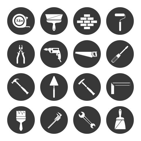 Bouwer instrumenten pictogrammen zwart vector
