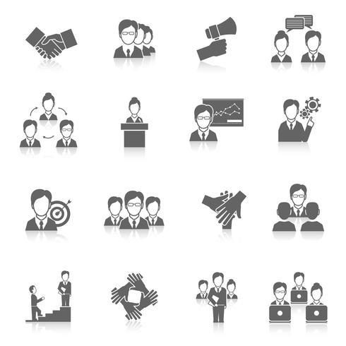 Teamwerk pictogrammen zwart vector