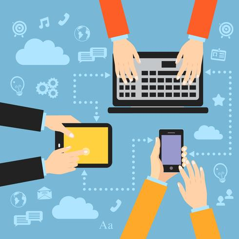 Bedrijfshanden met gadgets vector