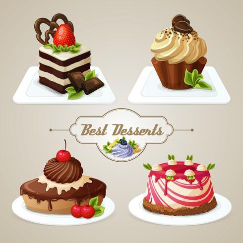 Snoepjes taarten dessert set vector