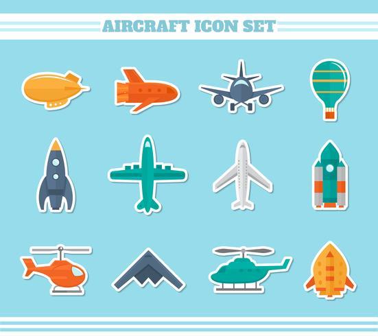 Vliegtuigen pictogrammen stickers vector