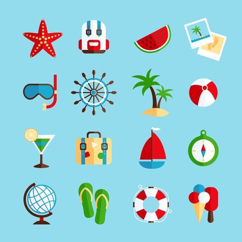 Vakantie vakantie pictogrammen instellen vector