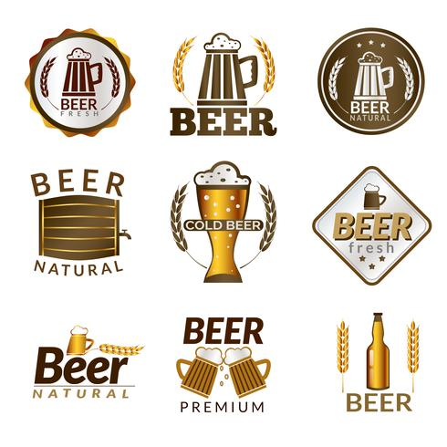 Bier gouden emblemen vector
