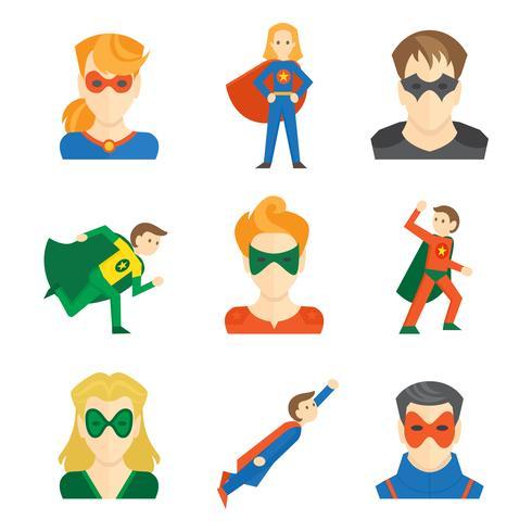 Superheld pictogram plat vector