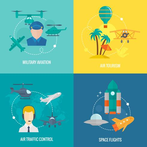 Vliegtuigen pictogrammen instellen vector