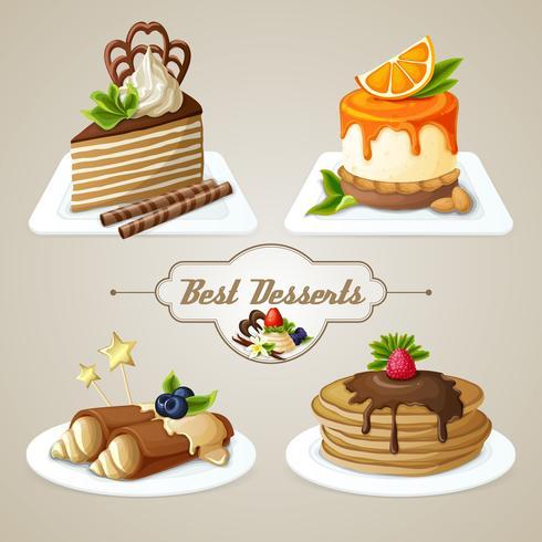 Snoepjes dessertset vector