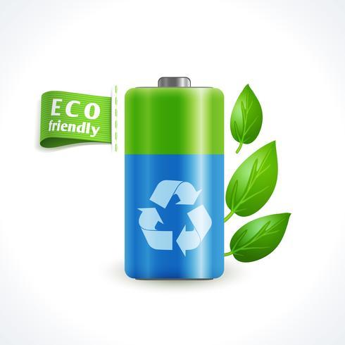 Ecologie symbool batterij vector