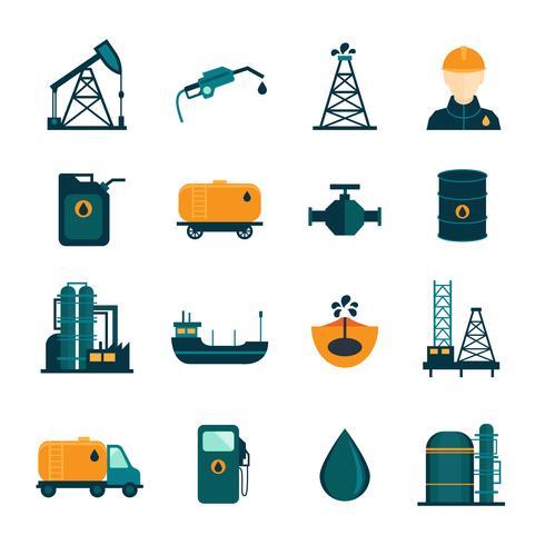 Olieindustrie vlakke pictogrammen vector