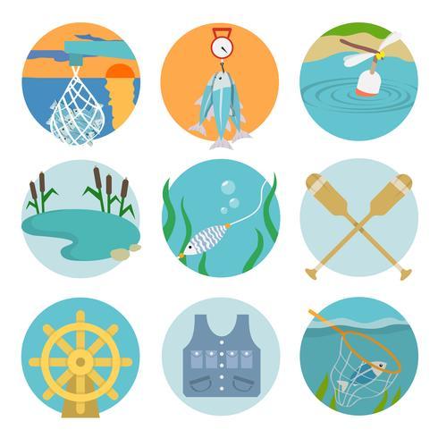 Set van vissen pictogrammen vector