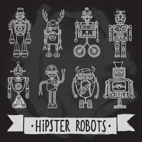 hipster robot set vector