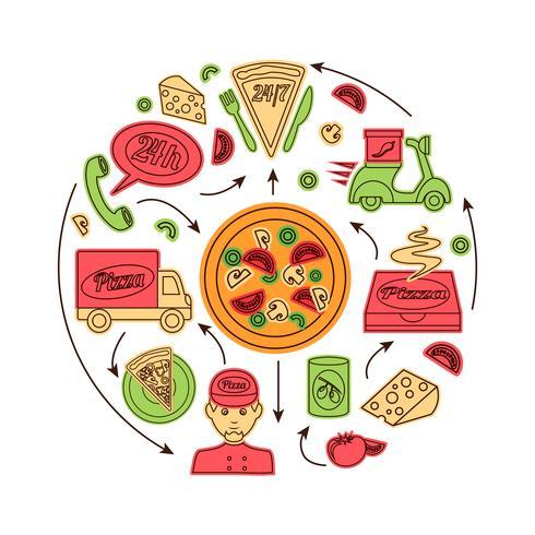 Pizza snelle bezorgservice vector