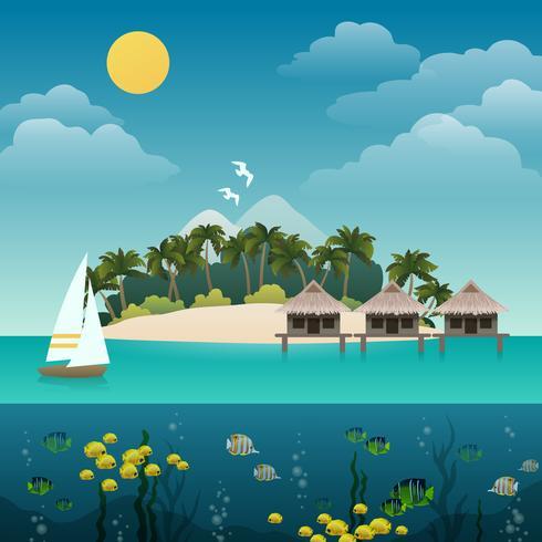 Tropische eilandachtergrond vector