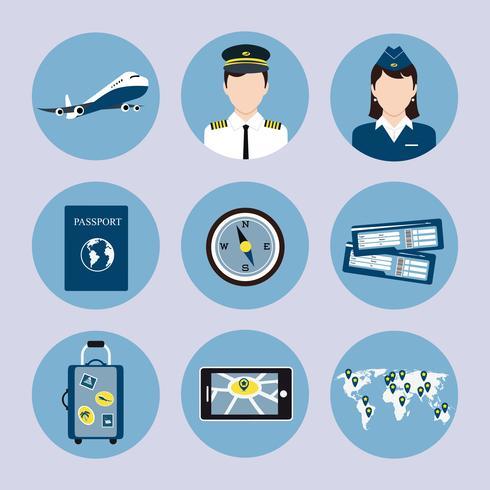 Luchtvaartmaatschappij Icons Set vector