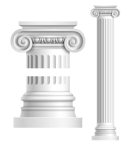 Realistische witte antieke kolom vector