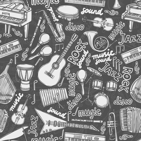 Muziekinstrumenten schets naadloze patroon vector