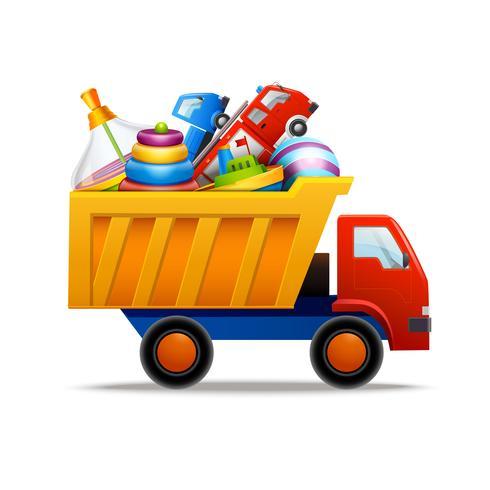 Speelgoed in vrachtwagen vector
