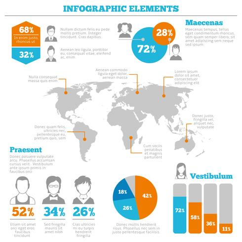 Avatar infographic elementen lay-out vector