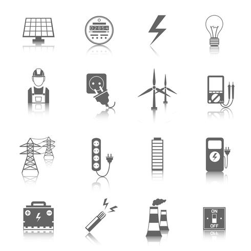 Set van elektriciteit pictogrammen vector