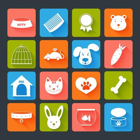 Huisdieren Icons Set Flat vector