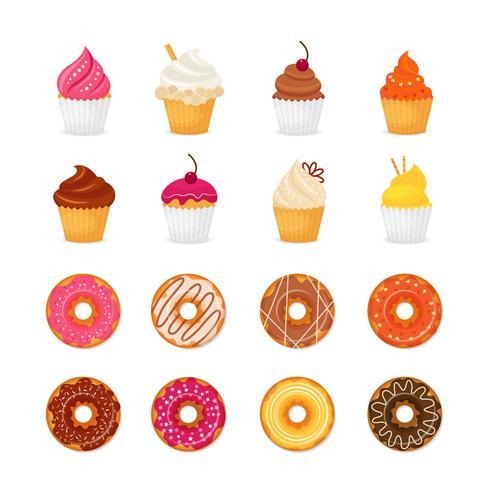 Doughnut cupcake pictogram vector