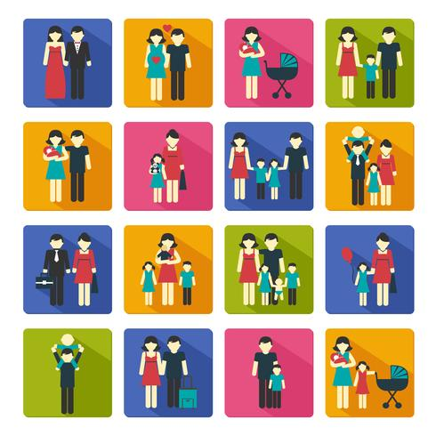 Familie Icons Set Flat vector