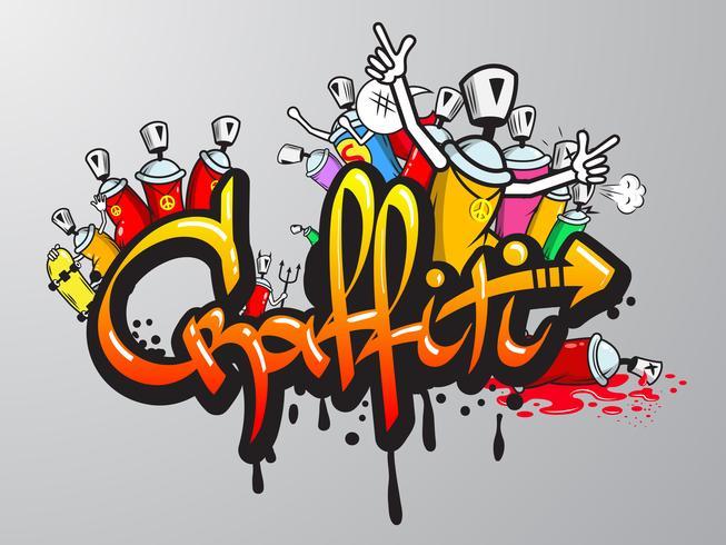 Graffiti-tekens worden afgedrukt vector
