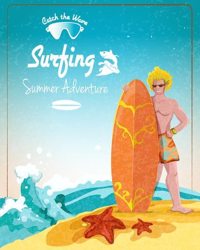Surfen zomeravonturenaffiche vector