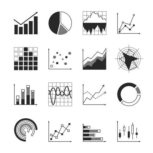 Zakelijke grafiekpictogrammen vector
