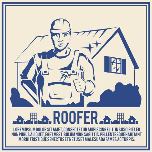 Roofer silhouet poster poster vector