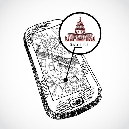 Schets draw smartphone met kaart vector