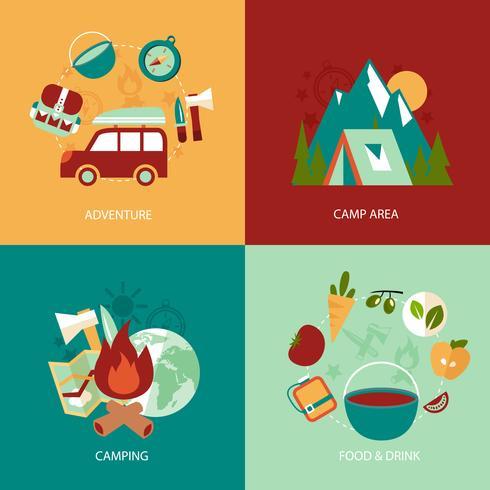 Camping plat pictogrammen instellen vector