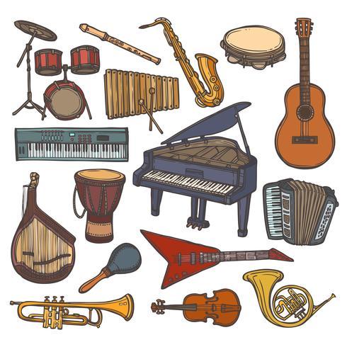 Muziekinstrumenten schets pictogram vector