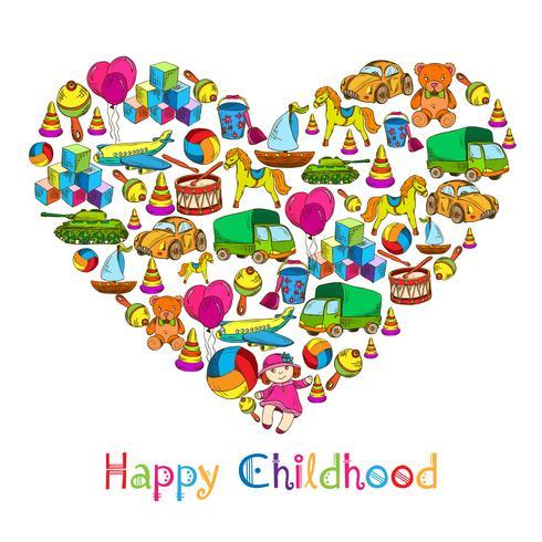 Speelgoed hart gelukkige jeugd vector