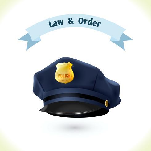 Wet pictogram politie hoed vector