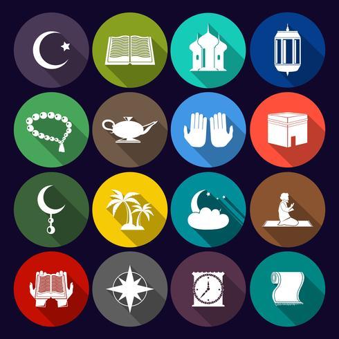 islam pictogrammen instellen plat vector