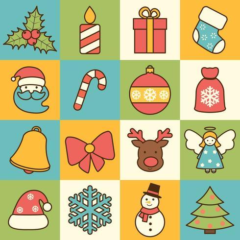 Kerst iconen instellen platte lijn vector